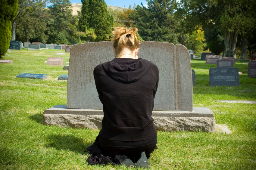 girl at grave